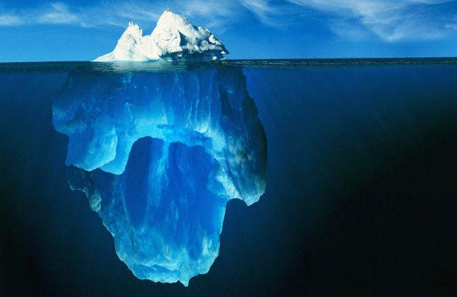 Picture of a iceberg representing a stain.